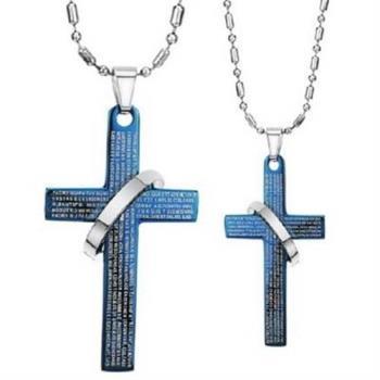 【米蘭精品】鈦鋼項鍊情侶對鍊(一對)韓版十字架聖經守護73cl90