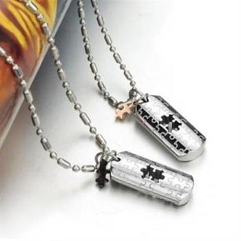 【米蘭精品】鈦鋼項鍊情侶對鍊(一對)韓版時尚愛情密碼2色73cl133