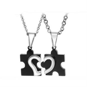 【米蘭精品】鈦鋼項鍊情侶對鍊(一對)流行精美愛情拼圖2色73cl8