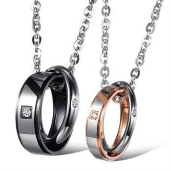 【米蘭精品】鈦鋼項鍊情侶對鍊(一對)簡約圓型扣環百搭2色73cl41