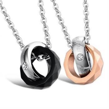 【米蘭精品】鈦鋼項鍊情侶對鍊(一對)精緻經典圓型鑲鑽2色73cl47