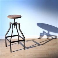 BuyJM 復古LOFT工業風旋轉式楡木昇降吧檯椅