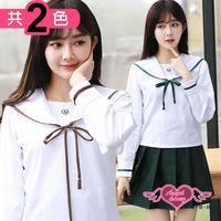 天使霓裳 學生服 純色日系 長袖水手領制服角色扮演(共兩色M.XL) CG60823