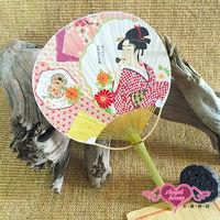 天使霓裳 扇子 花間美人 單面印花和風扇角色扮演道具(粉F) HF013