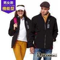【Dreamming】戶外休閒彈性軟殼防潑水保暖外套(黑色)