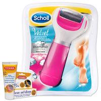 Scholl爽健-絲絨柔滑晶鑽極致電動去硬皮機(經典粉)+Titania專業足霜