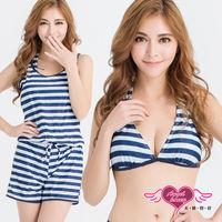 天使霓裳  泳衣 耀眼沙灘 條紋三件式比基尼泳裝(藍M~XL) RG120012