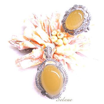 【Selene 珠寶】華麗富貴金田黃項鍊套組(買項鍊 送戒指)