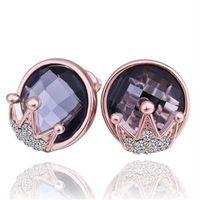 【米蘭精品】純銀耳環鍍18K金水晶耳飾時尚鑲鑽皇冠造型73cg205