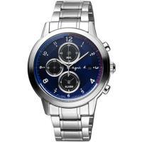 agnes b. SOLAR 太陽能法國國旗計時腕錶-藍x銀/42mm V172-0AX0B(BY6002P1)