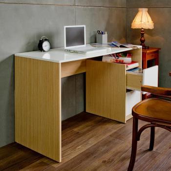 【尼克斯】簡約日式鏡面二抽書桌