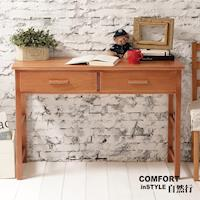CiS自然行實木家具 書桌-電腦桌-化妝桌-邊桌W110cm(溫暖柚木色)