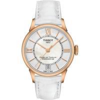 TISSOT 杜魯爾系列機械動力80腕錶-玫瑰金框x白/32mm T0992073611800