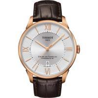 TISSOT 杜魯爾系列機械動力80腕錶-銀x玫瑰金框/42mm T0994073603800