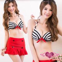 天使霓裳  泳衣 韓系甜心 三件式鋼圈比基尼泳裝(黑紅M~XL) GC4053