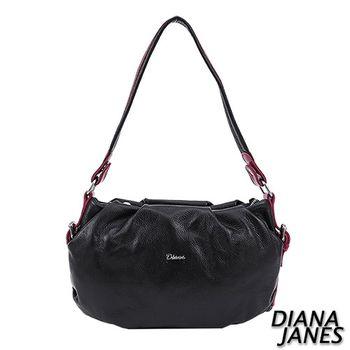 Diana Janes 牛皮撞色多用女包-莓紅邊