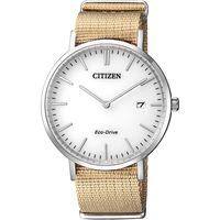 CITIZEN 星辰 Eco-Drive 光動能尼龍錶帶中性腕錶-白x淺卡其/38mm AU1080-20A