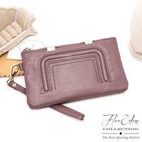 DF Flor Eden皮夾 - 時尚極簡風牛皮款單拉鍊長夾-共2色