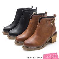 ☆Love Girl☆美型單品前V口後帶釦馬蹄跟短靴