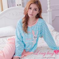 【lingling日系】全尺碼-小兔貼布條紋哺乳孕婦裝居家長袖二件式睡衣組(元氣桔)A2916