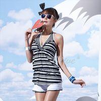 【沙兒斯品牌】經典條紋款式四件式鋼圈比基尼泳裝 NO.B94601
