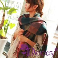【Decoy】蘇格蘭格紋*寬版編織圍巾/五色可選