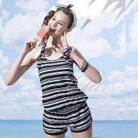 【沙兒斯品牌】經典條紋款式三件式鋼圈比基尼泳裝 NO.B93606