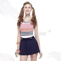 【沙兒斯品牌】亮麗條紋款式時尚連身裙泳裝 NO.B98623