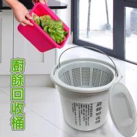 6.5L乾濕分離式 廚餘回收桶 專利花香環保垃圾袋1包3捲  金德恩