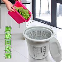 18L乾濕分離式 廚餘回收桶 +專利花香垃圾袋1包3捲/台灣製造/金德恩