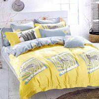 【Betrise】斑馬樂園-環保印染德國防螨抗菌精梳棉四件式兩用被床包組-加大