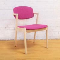 Bernice-萊爾實木餐椅/單椅-桃紅色款