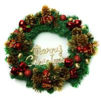 16吋豪華高級聖誕花圈(紅金色系)(台灣手工組裝出貨)