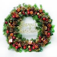 24吋豪華高級聖誕花圈(紅金色系)(台灣手工組裝出貨)
