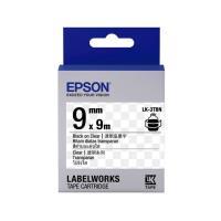EPSON LK~3TBN 透明系列透明底黑字標籤帶 寬度9mm