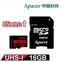 Apacer宇瞻 16GB MicroSDHC UHS-I Class10 記憶卡 85MB/s (附轉卡)