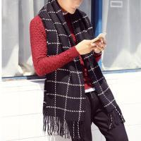 【幸福揚邑】韓版冬季經典百搭情侶粗毛線格子加長披肩圍巾-黑