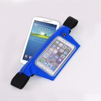 【活力揚邑】防水防竊可觸控彈性反光手機平板腰包腰帶藍色-7吋以下通用