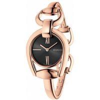GUCCI 古馳 Horsebit 羅馬唯美手鍊腕錶-黑x玫塊金/28mm YA139507