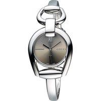 GUCCI Horsebit 羅馬唯美手鍊腕錶-咖啡/28mm YA139501