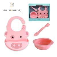 MARCUS MARCUS 動物樂園餵食禮盒組(圍兜+湯匙+餐碗)-粉紅豬