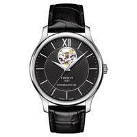 TISSOT 天梭 Tradition 80小時動力鏤空機械腕錶-黑/40mm T0639071605800