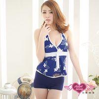 天使霓裳  泳衣 簡約花漾 兩件式氣質印花泳裝(藍F) AL1186