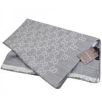 GUCCI 165903 雙G緹花羊毛絲綢披肩圍巾/大絲巾.銀灰