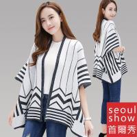 Seoul Show 幾何線條羊毛針織外套斗篷圍巾披肩 F均碼