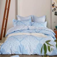 【Betrise】清風徐來-環保印染德國防螨抗菌精梳棉四件式兩用被床包組-雙人