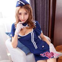 天使霓裳 角色扮演 飛航情緣 性感空姐連身制服裙角色服(深藍F) ST9002