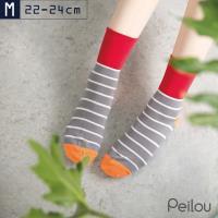 【PEILOU】貝柔Supima機能抗菌萊卡除臭寬口襪(條紋)