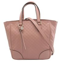 GUCCI 449241 BREE 經典雙G緹花牛皮壓紋二用包.粉紅