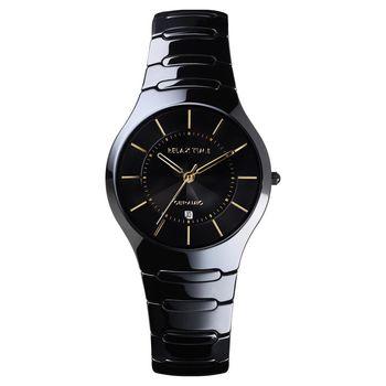Relax Time 經典藍寶石陶瓷腕錶-黑x金時標/37mm RT-26-C7